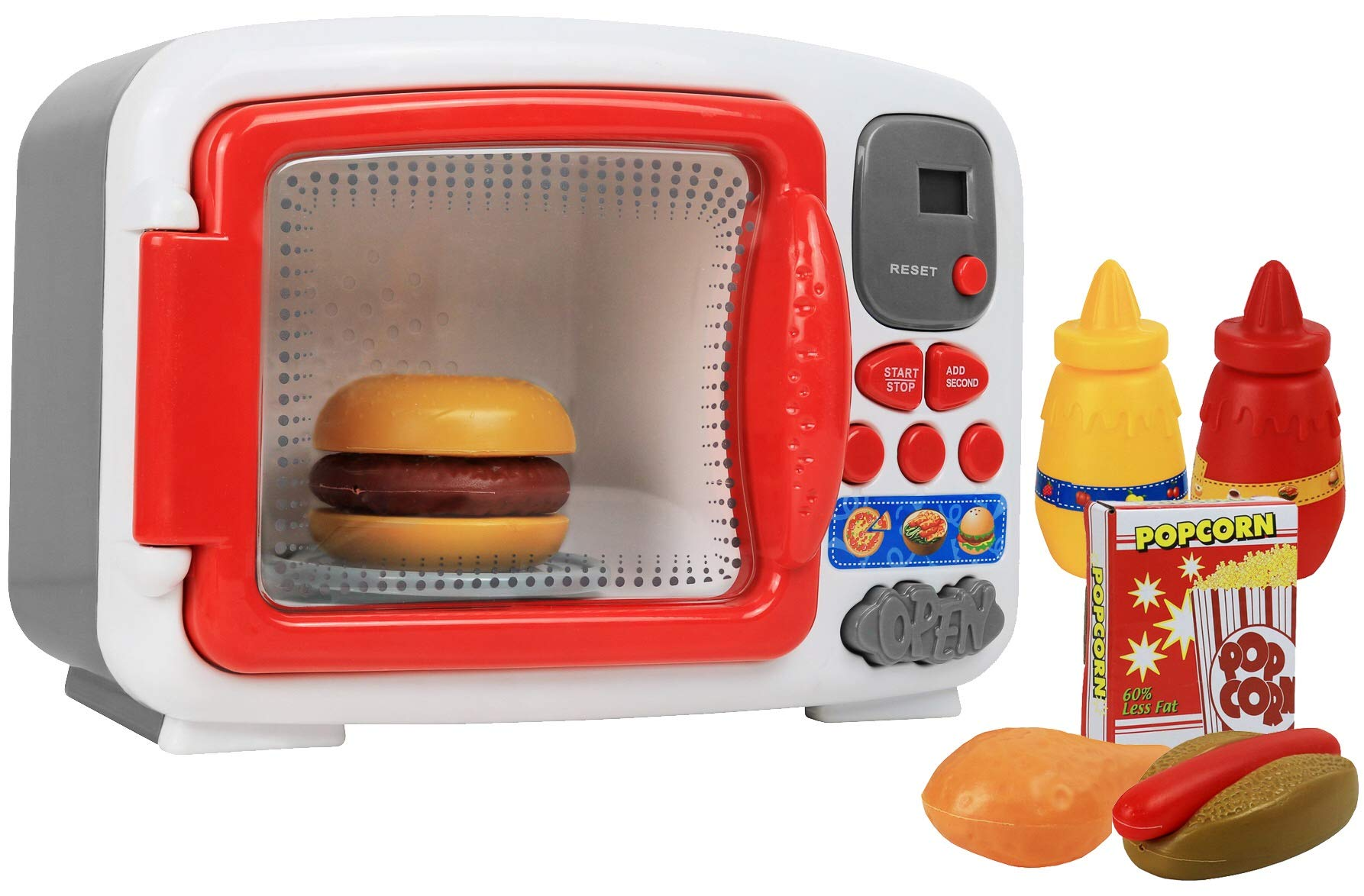 Pretend Play Toy Microwave for Kids with Food Electronic Kitchen Toys by Kiddie Play