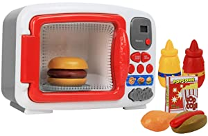 Pretend Play Toy Microwave for Kids with Food Electronic Kitchen Toys