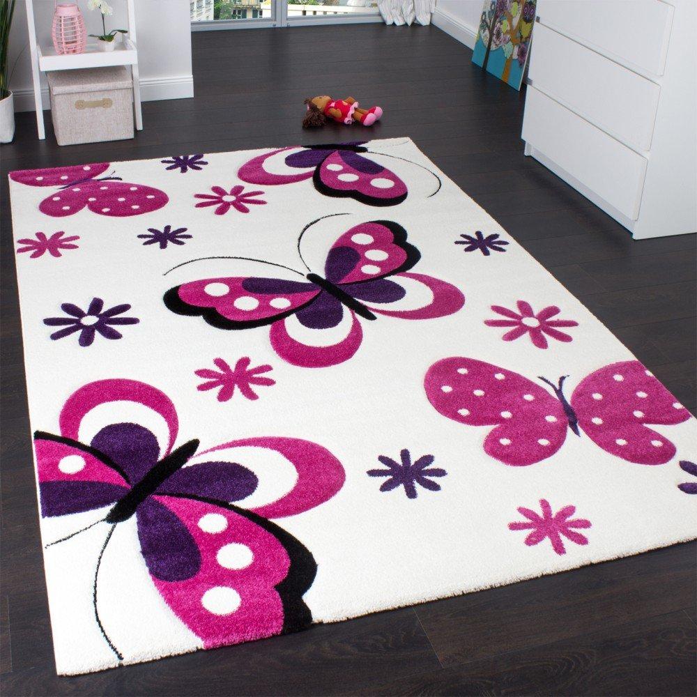 Kinderteppich Schmetterling Trendiger Teppich Butterfly Design Creme Pink - Grösse:200x290 cm