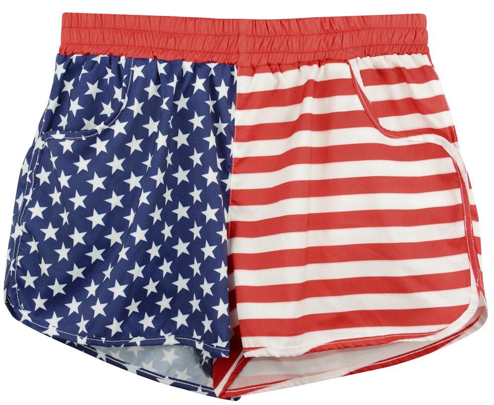 Women's Causal Board Shorts Tankini Swim Briefs Bottom Sports Beachrider American Flag XXL