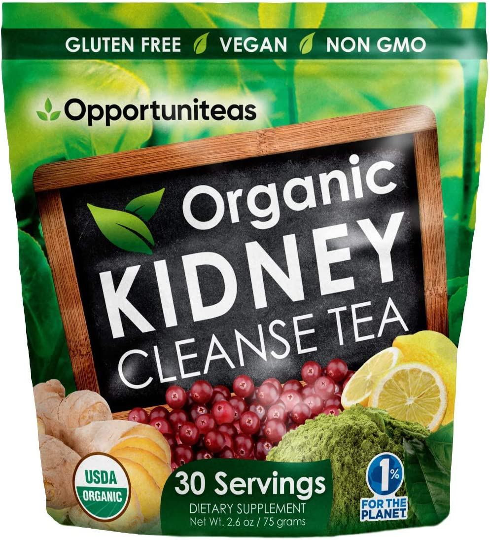 Organic Kidney Cleanse Tea - 4 Superfoods to Mix in Smoothie or Drink - Matcha Green Tea, Cranberry, Lemon, Ginger - Detox Health Supplement Powder - Vegan & Non GMO - 30 Servings