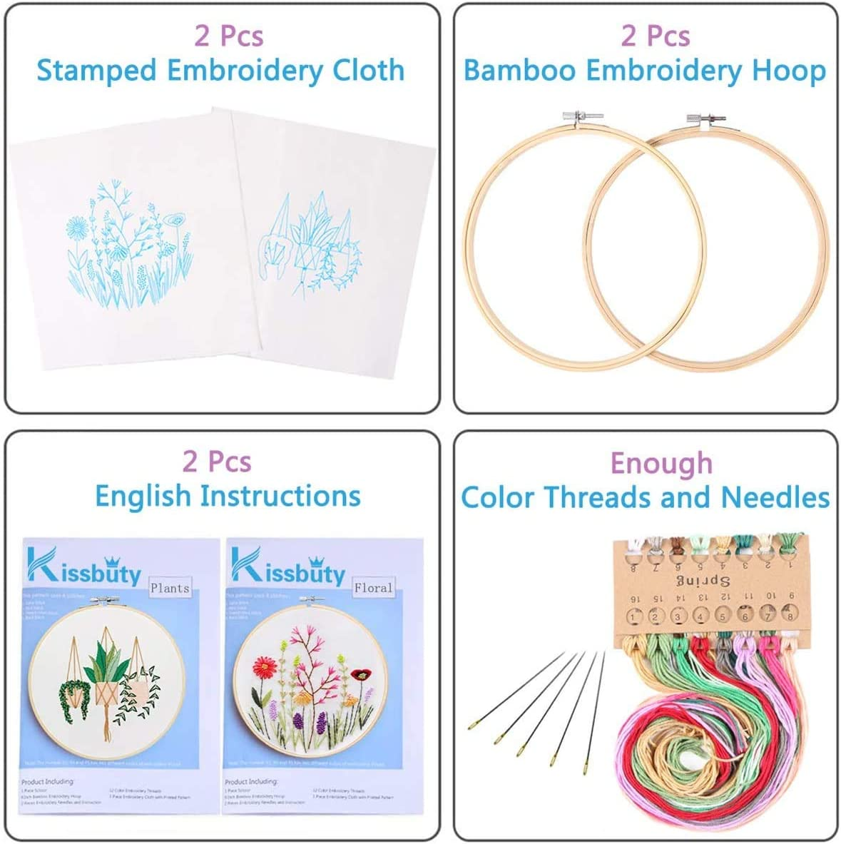 Embroidery Starter Kit with Pattern Embroidery Needles 3 Pack Cross Stitch Kits with 3 Patterns Color Threads and Tools Embroidery Kit for Beginners Adults with Embroidery Hoops