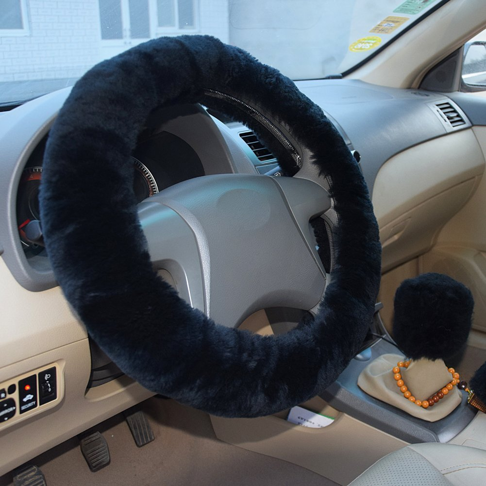 Soft Steering Wheel Cover Set Gear Shift Cover Set 15 Synthetic Wool Winter Warm Steering Wheel Cover Violet Handbrake Cover