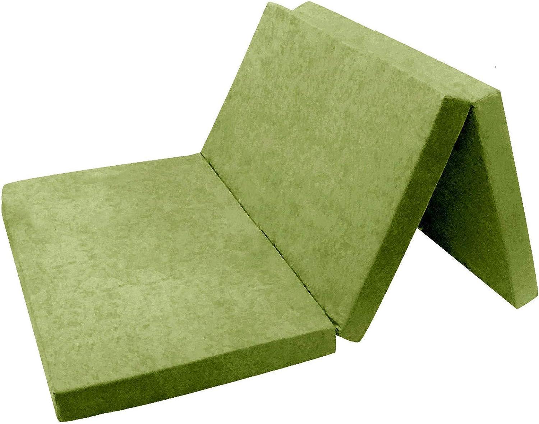 FORTISLINE - Colchón Plegable para Invitados 06. Verde Claro XXL – 195 x 120 x 9 cm W396_06: Amazon.es: Hogar