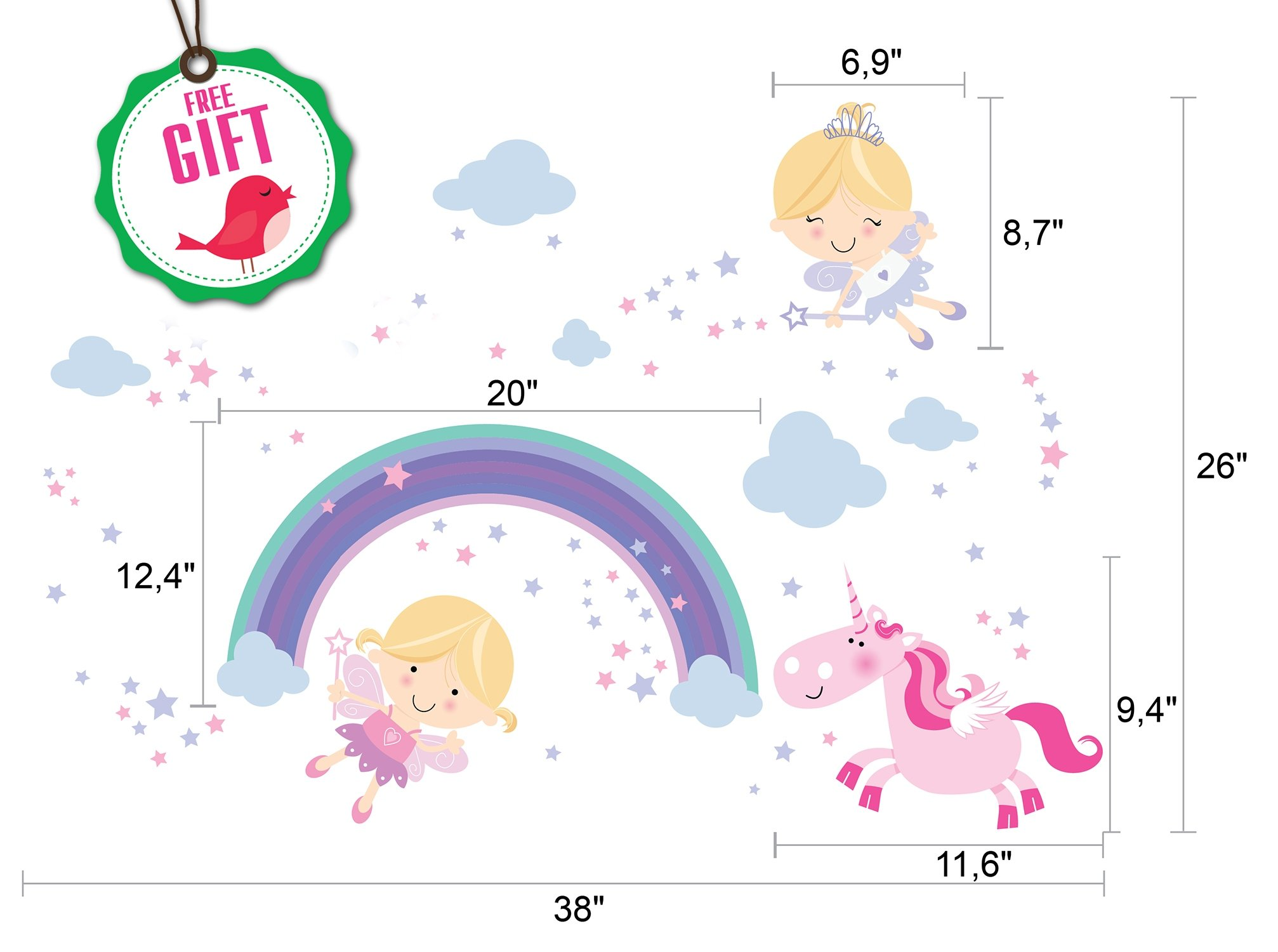 Unicorn Baby Girl Room Décor - Fairy Wall Stickers Childrens for Bedroom, Nursery, Playroom - with Free Gift! 4
