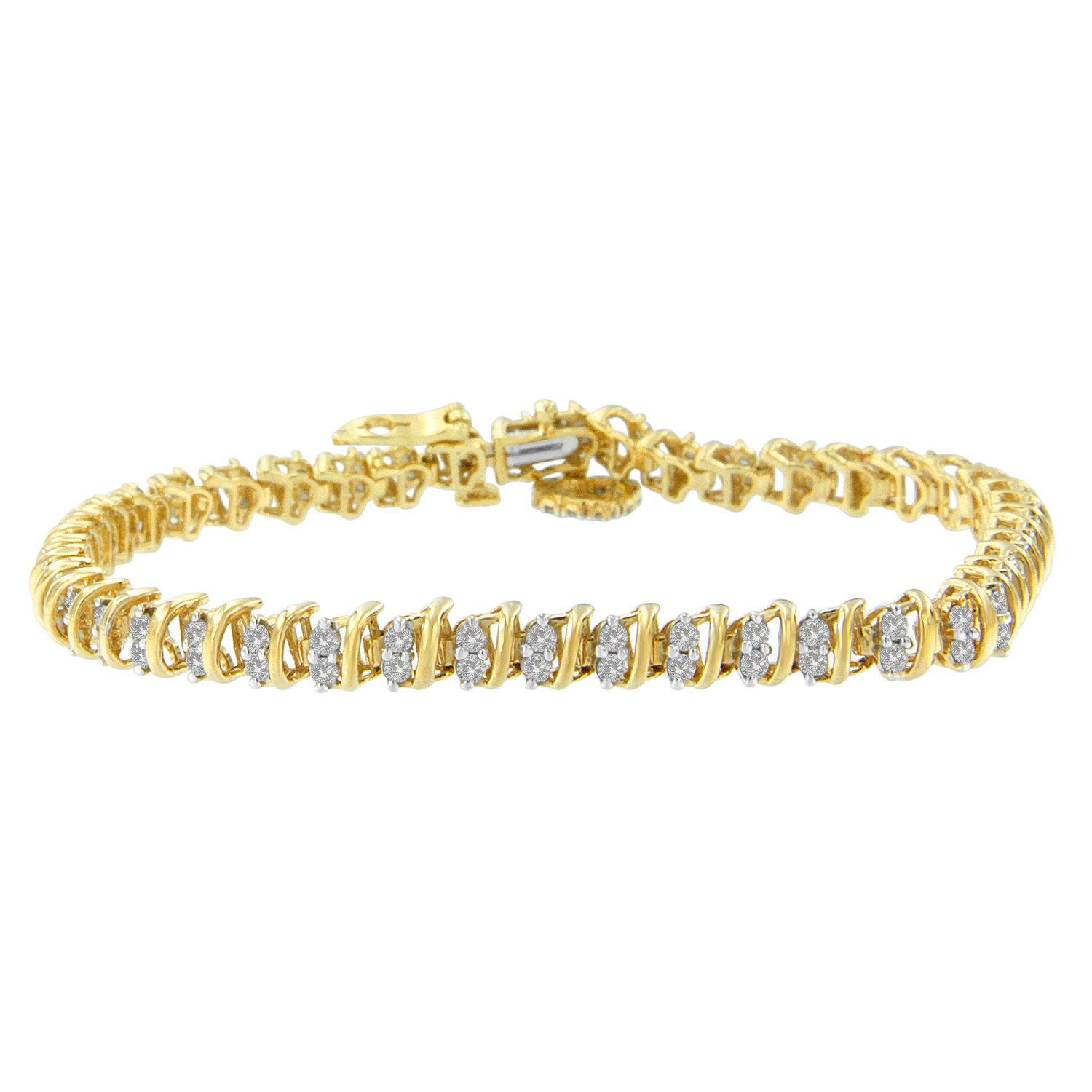 10K Yellow Gold Plated Sterling Silver Round Curved Link Tennis Bracelet(2.00cttw, H-I color, I3 clarity)