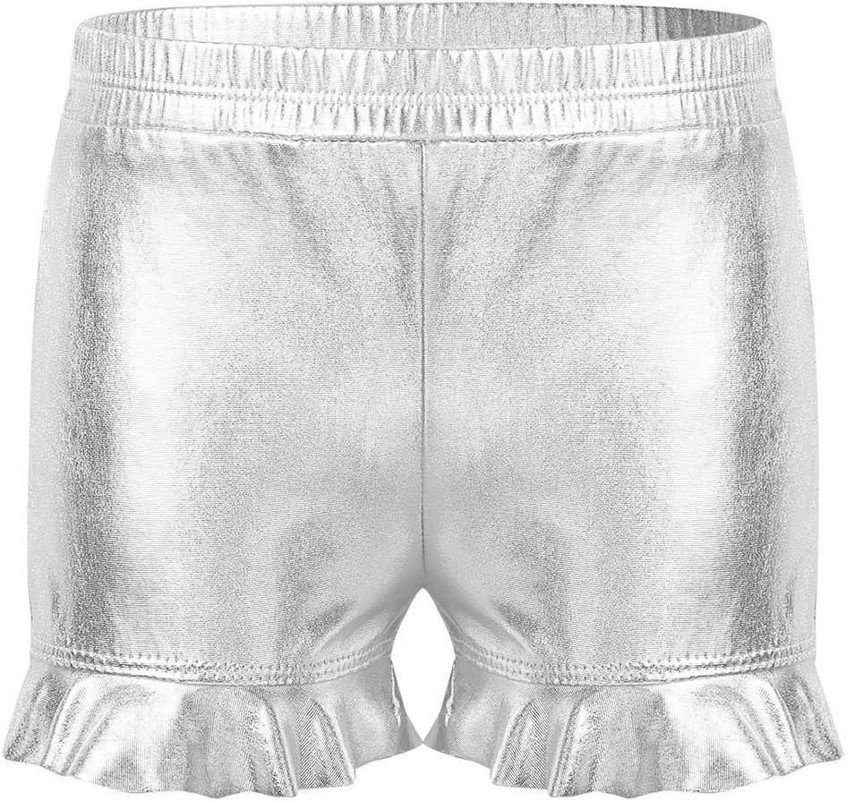 Zaldita Kids Girls Sparkling Solid Metallic Ruffles Shorts Dance Workout Gymnastics Active Performance Hot Pants Silver 3-4 Years