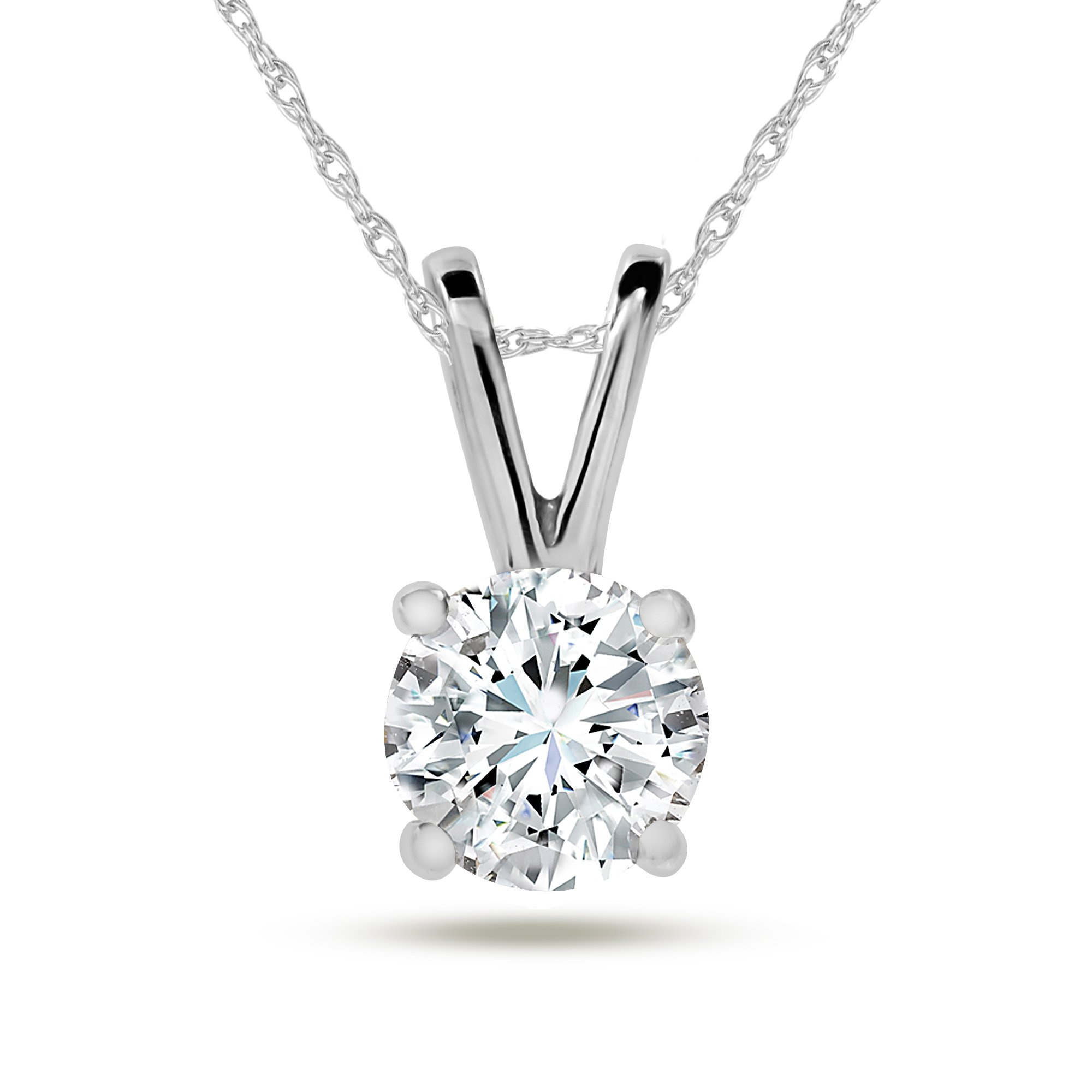 Diamond Pendant Necklace for Women in 14k White - Yellow Gold 18 inch Chain IGI Certified H-I I1 0.22ct - 1.00ct