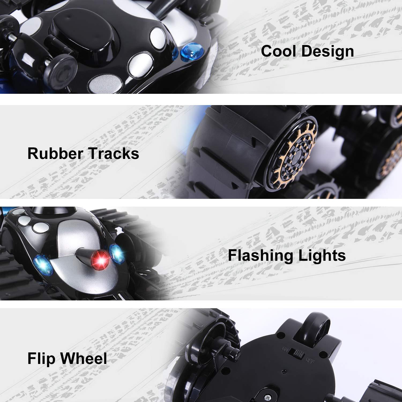 SGILE Carro Armato Telecomandato a 360 Gradi di Rotazione Controllo Remoto RC Veicolo con i Fari del Suono Controllo Radiofonica