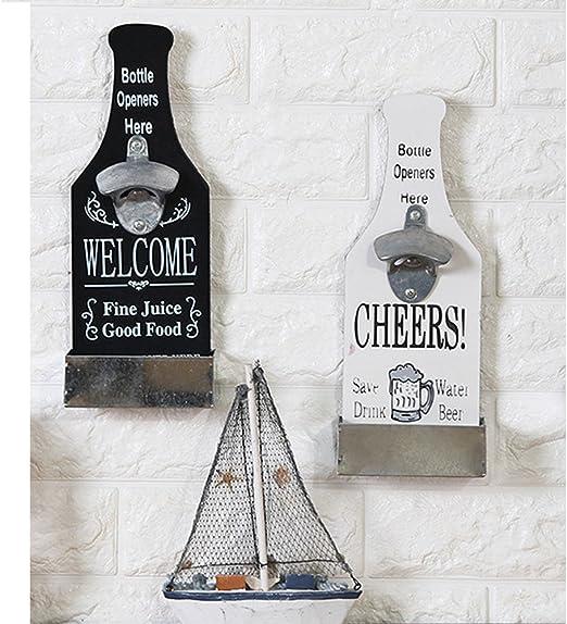 Bar Drinking Gift Black Powder Coated Wall Mount Bottle Opener w// Cap Catcher
