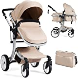 BABY JOY Baby Stroller, 2-in-1 Convertible Bassinet Sleeping Stroller, Foldable Pram Carriage with 5-Point Harness…