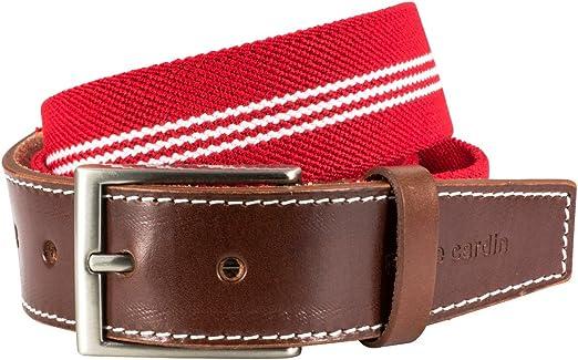 Pierre Cardin - Tela tela de estiramiento de la cinturón con extremo de cuero la cinturón / cinturón para hombre pierre cardin, 70143 rojo blanco, : Amazon.es: Ropa y accesorios