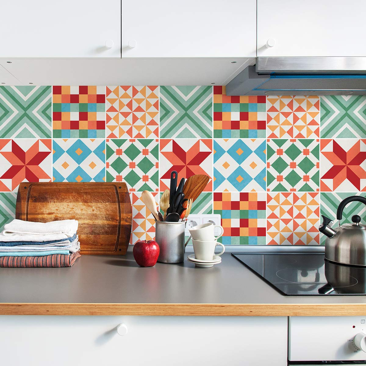 Sirface Colourful Geometric Tile Decals - Tile Stickers Set for Kitchen and Bathroom - PACK OF 24 - Different (4x4 inches | 10x10 cm)