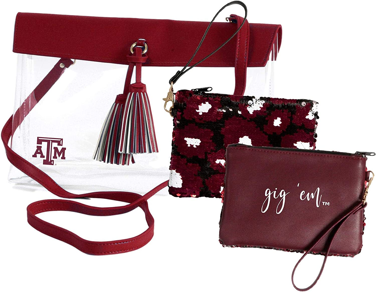 Texas A/&M Aggies Clear Handbag//Purse and Reversible Sequined Wristlet Combo with Vegan Leather Trim and Removable Straps