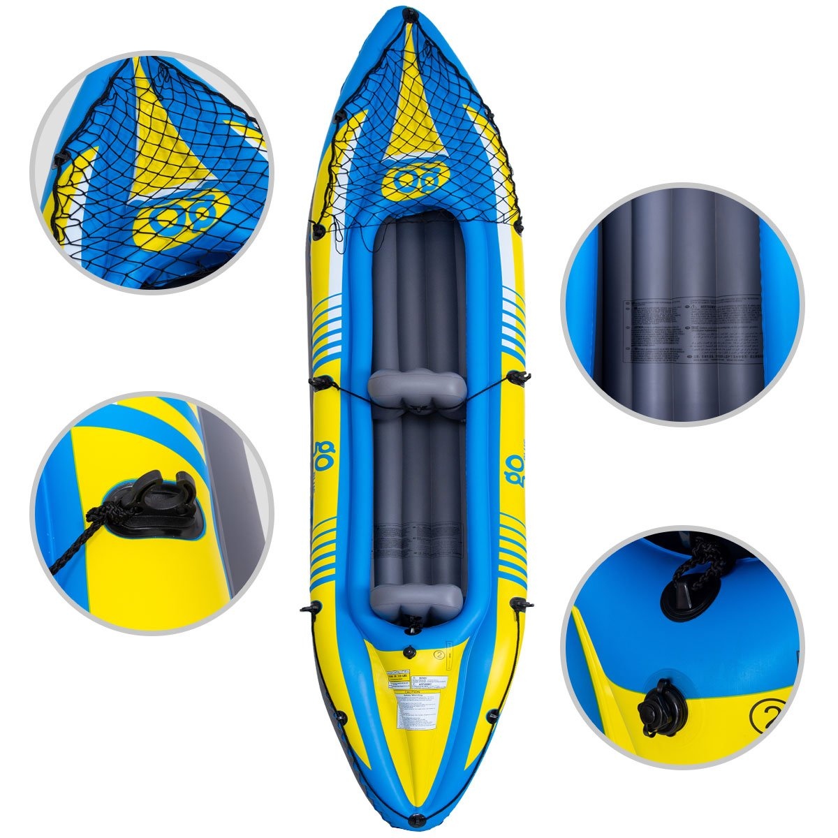 Goplus Inflatable Kayak 3 Seperate Air Chambers with Aluminum Alloy ... 98cbeb1d3