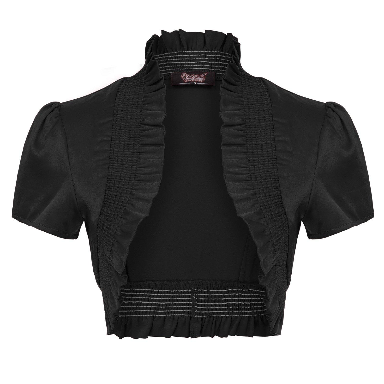 SCARLET DARKNESS Women Gothic Vintage Cap Sleeve Stand Collar Ruffled Satin Shrug Bolero SL000001 M Black