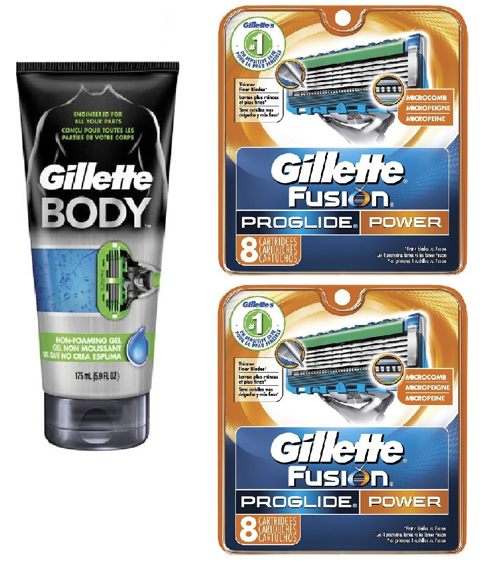 Gillette Body Non Foaming Shave Gel for Men, 5.9 Fl Oz + Fusion Proglide Power Refill Blades 8 Ct (2 Pack) + FREE Luxury Luffa Loofah Bath Sponge On A Rope, Color May Vary