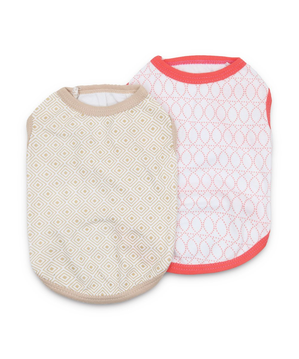 DroolingDog Dog Shirts Cotton Dog Clothes Summer Cat Vest Pet T Shirt for Small Dogs, Large, Pack of 2