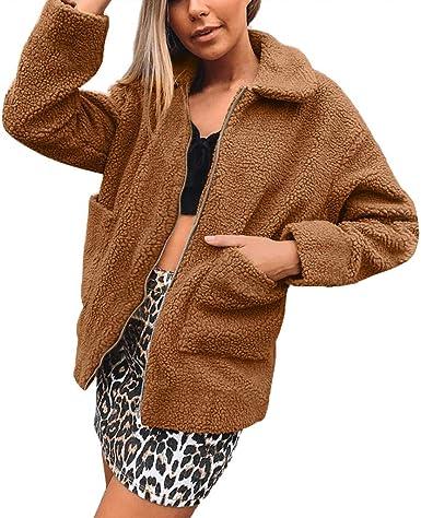 ZYUEER Zara Cardigan - Chaqueta de Piel para Mujer marrón S ...