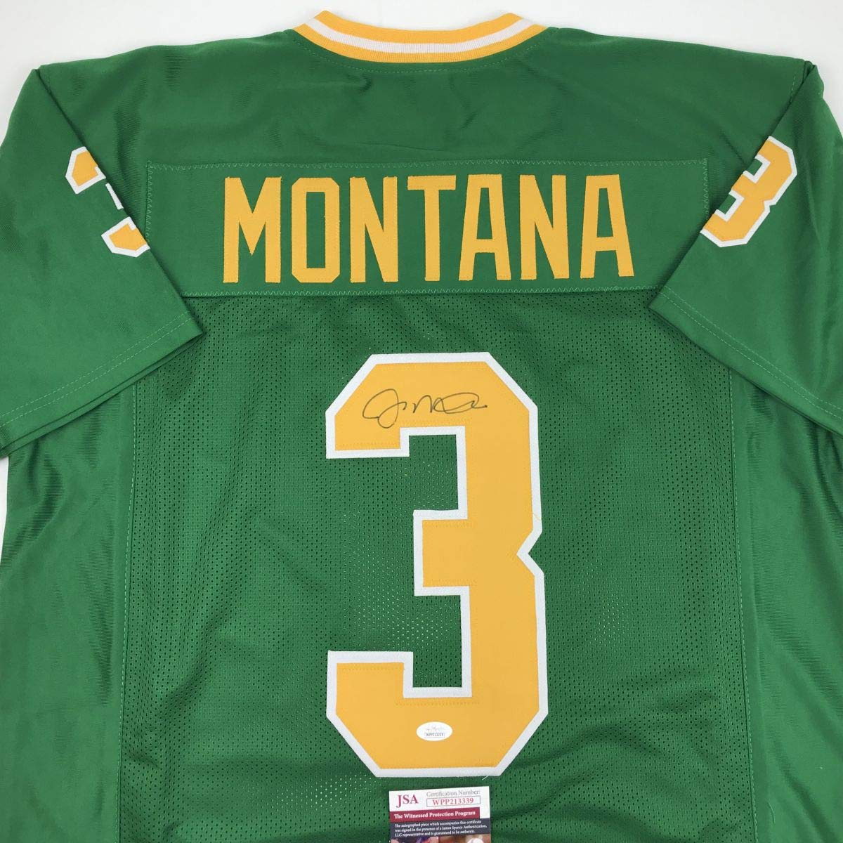 c62679764 Autographed Signed Joe Montana Notre Dame Green College Football Jersey JSA  COA at Amazon s Sports Collectibles Store