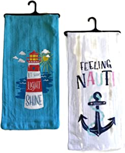 Little Blue House Nautical Beach Lighthouse and Anchor Funny Kitchen Towel Set, 2 Cotton Decorative Tea Towels for Dish and Hand Drying