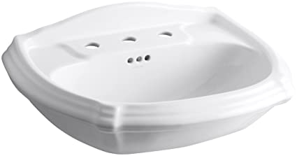 KOHLER K 2222 8 0 Portrait Pedestal Bathroom Sink Basin, White