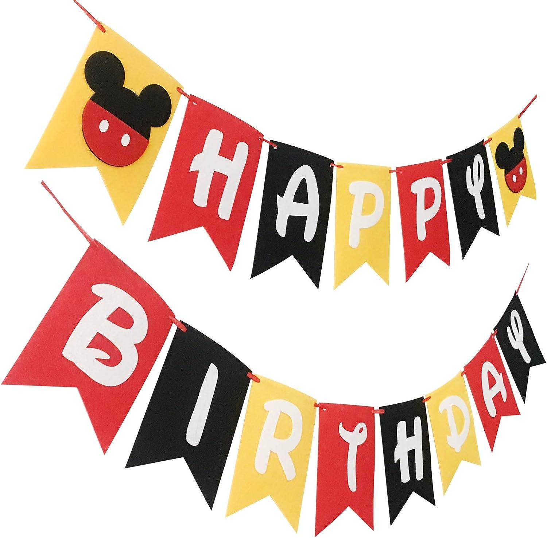 Banderines de Minnie Mouse para fiesta de cumpleaños, para niños, de Disney, decoración de fiesta de cumpleaños, Mickey Mouse: Amazon.es: Salud y cuidado personal