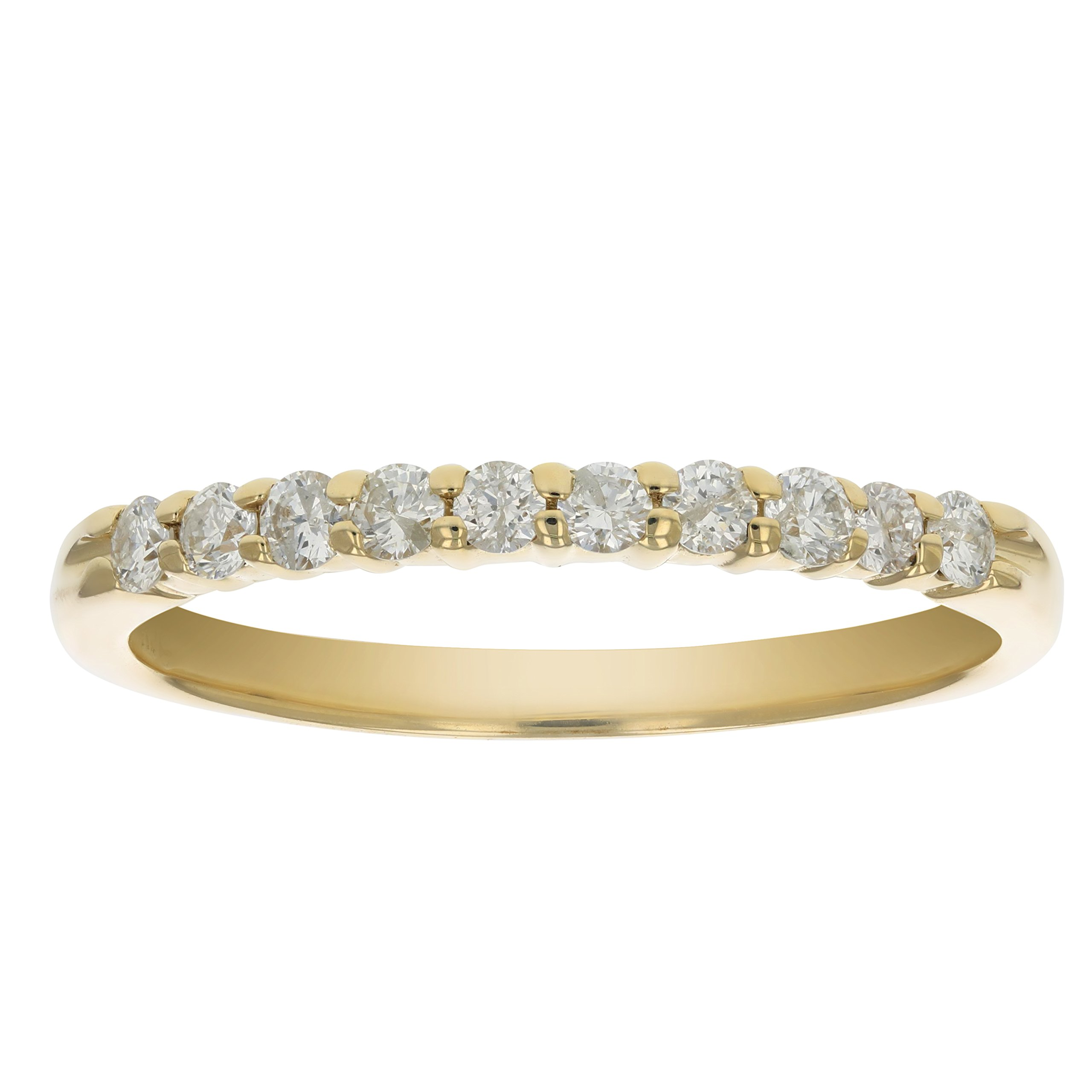 AGS Certified SI2-I1 1/3 ctw Diamond Wedding Band 14K Yellow Gold Size 8