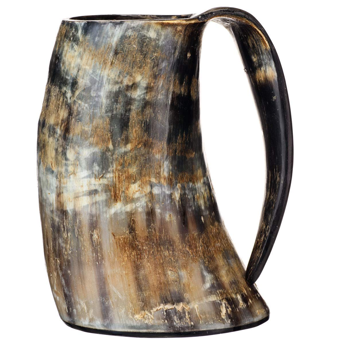 Naaz wood arts The Original Handcrafted Authentic Viking Drinking Horn XXL 1 Liter Tankard for Beer, Mead, Ale - Medieval Inspired Stein Mug - Food Safe Vessel With Handle. 36oz