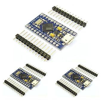 HiLetgo 3pcs Leonardo Pro Micro ATmega32U4 5V/16MHz Bootloader Micro USB Leonardo Pro Micro for Arduino Compatible: Amazon.es: Industria, empresas y ciencia