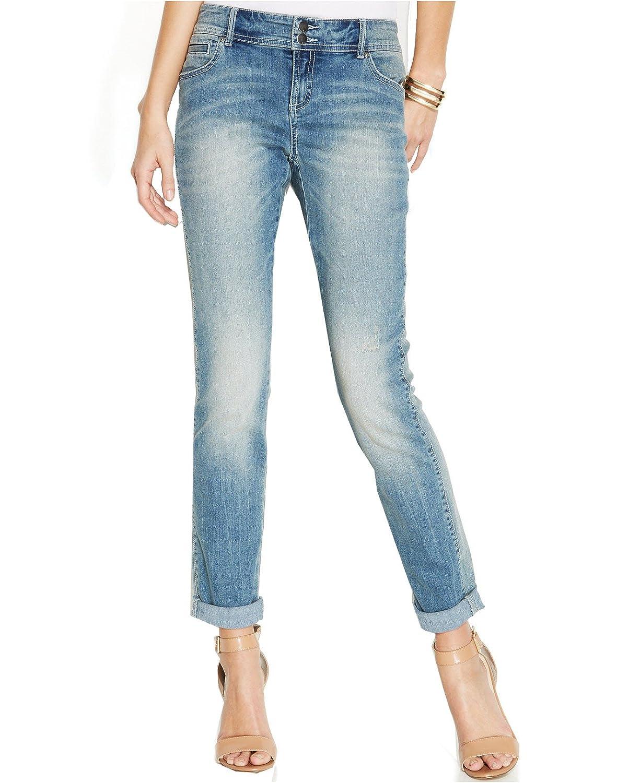 INC International Concepts Women's Curvy-Fit Boyfriend Jeans