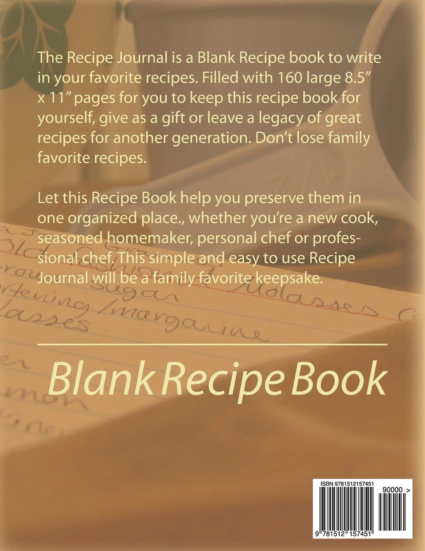 Recipe journal blank recipe book frances p robinson 9781512157451 recipe journal blank recipe book frances p robinson 9781512157451 amazon books solutioingenieria Images