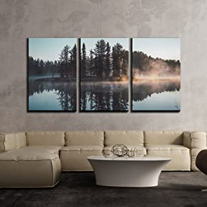 "wall26 - 3 Piece Canvas Wall Art - Trees with Reflection on a Perfectly Smooth Lake - Modern Home Art Stretched and Framed Ready to Hang - 16""x24""x3 Panels"