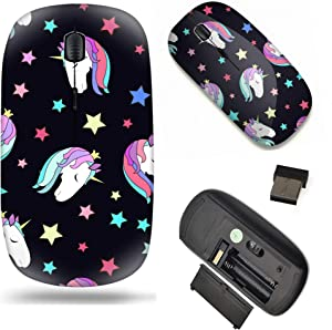 Unique Pattern Optical Mice Mobile Wireless Mouse 2.4G Portable for Notebook, PC, Laptop, Computer - Colorful Kids Pattern with Unicorn Heads