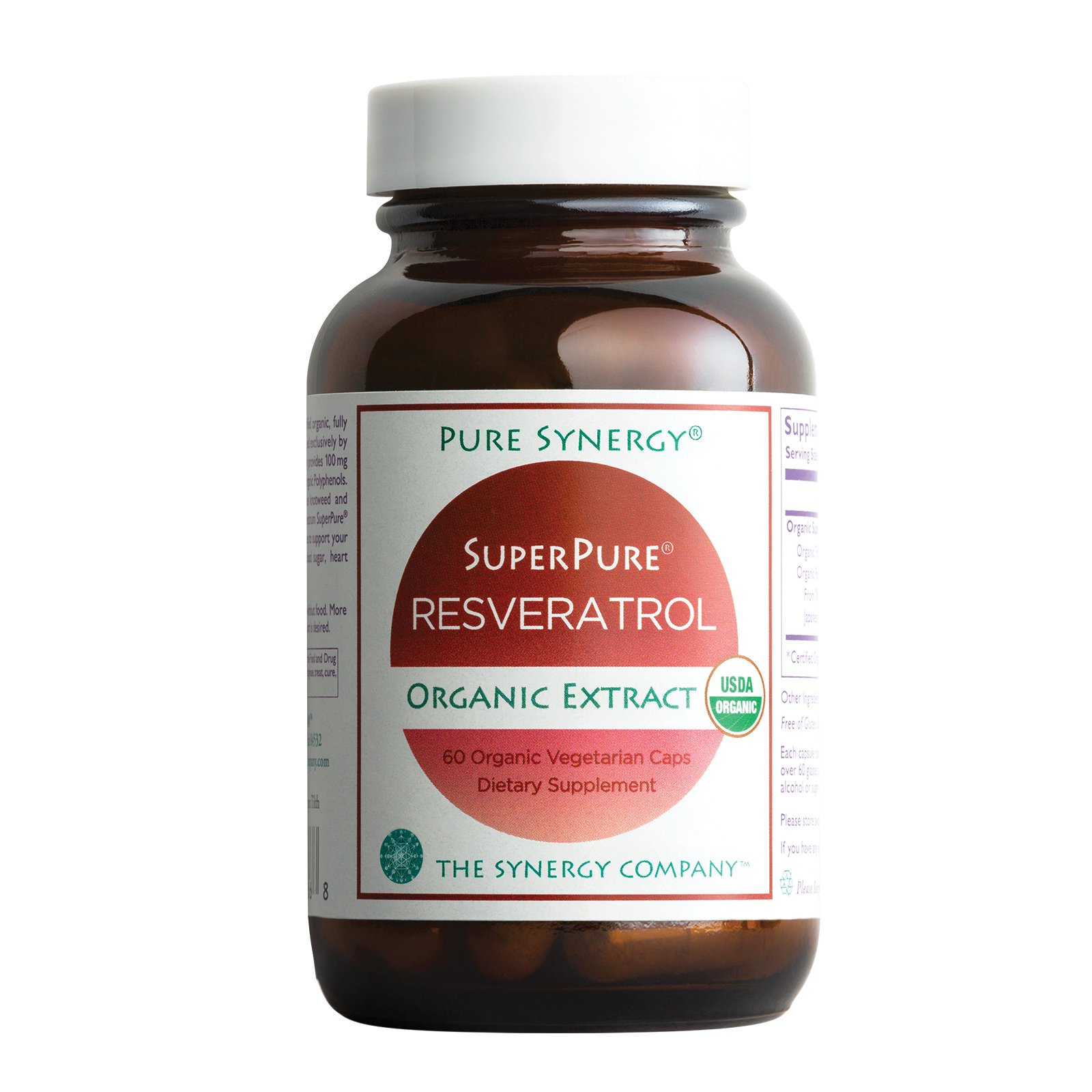 Pure Synergy USDA Organic SuperPure Resveratrol (60 Capsules) w/Trans Resveratrol for Healthy Aging by Pure Synergy