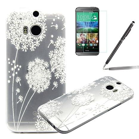 HTC One M8 Funda,HTC M8 Carcasa - Felfy HTC One M8 / M8s Elegant White Dandelion Patrón Transparente Claro Cristal Diseño Ultra Fina Flexible TPU Gel ...