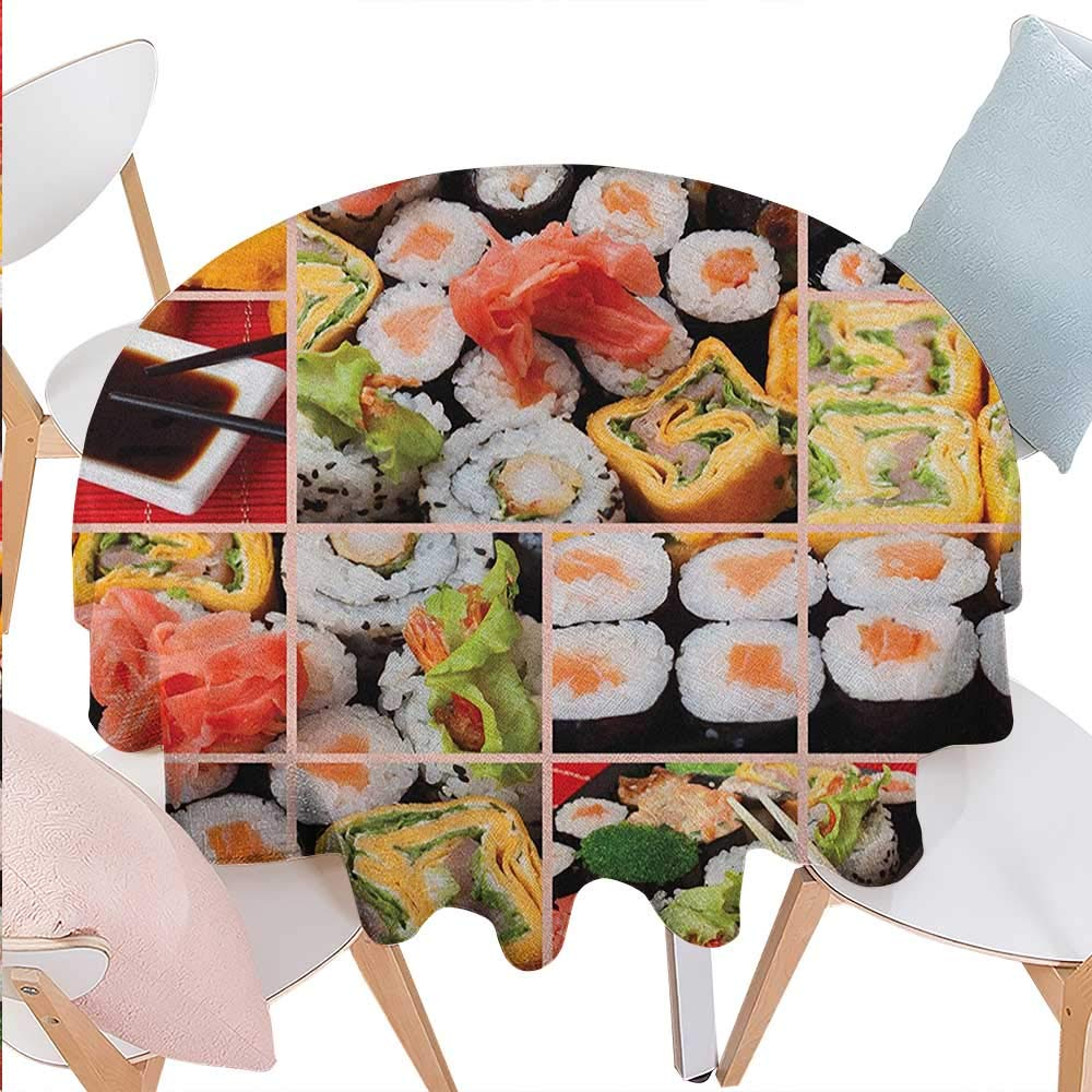 BlountDecor Japanese Dinning Round Tabletop DecorCuisine Asian Sushi Fish Raw Meat Rolls South East Fast Food Ceremony Artwork Round Table Cover for Kitchen D36 Multicolor
