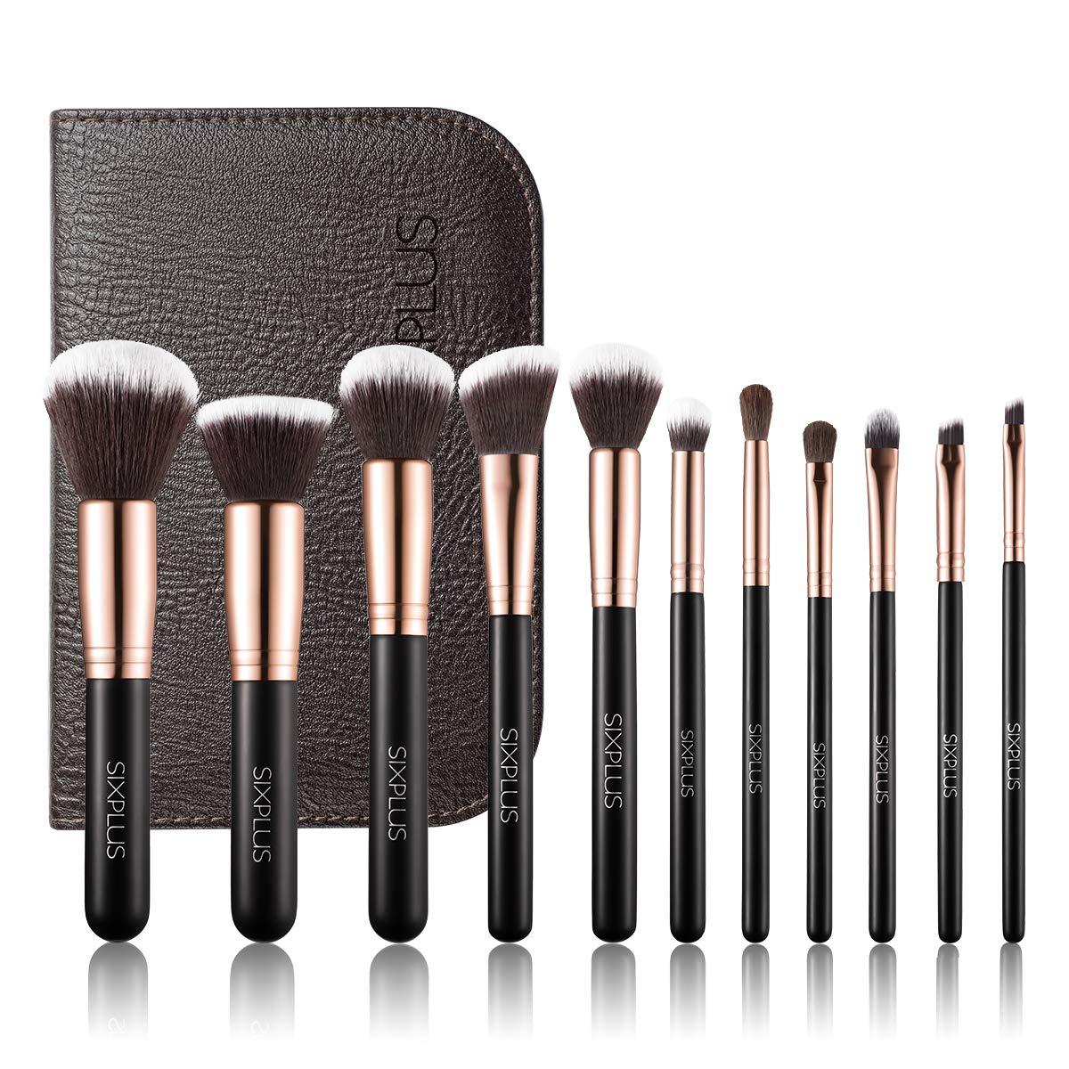 SIXPLUS 11pcs Makeup Brushes with Case Premium Synthetic Professional Makeup Brush Set(royal golden)