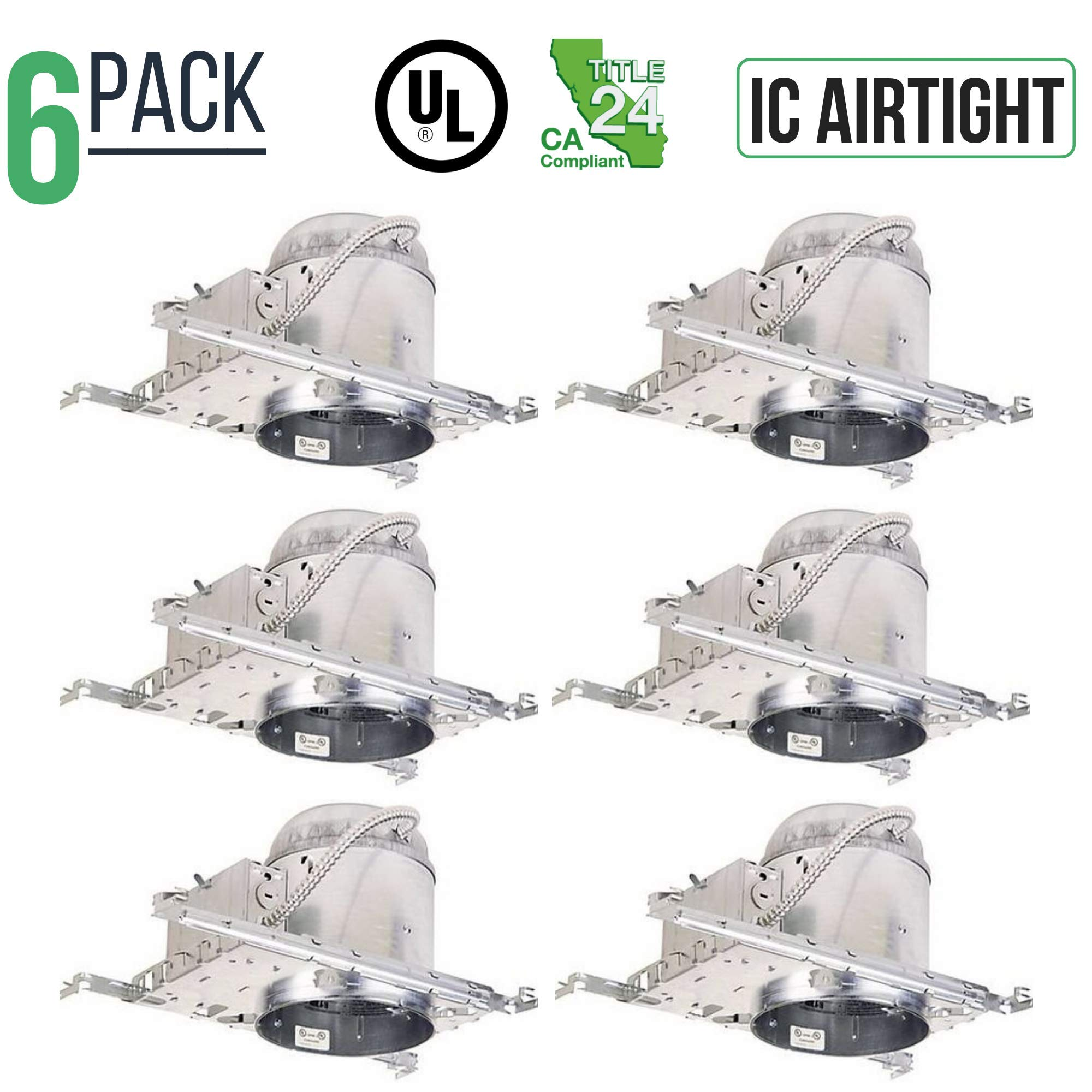 6 Pack - 5'' Inch LED New Construction Recessed Housing Can Light IC Airtight Title 24 Certified Replaces Halo & Juno