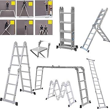 4,7 m Escalera plegable de aluminio de 4 secciones 16 pasos 14 en 1 multiusos: Amazon.es: Bricolaje y herramientas