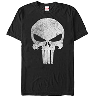 a8d7aa36057e02 Amazon.com: Marvel Men's Punisher Retro Skull Symbol T-Shirt: Clothing