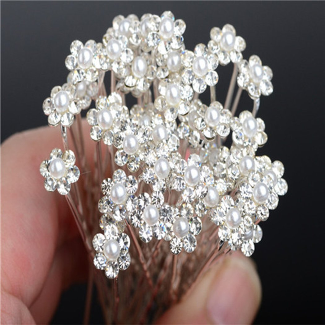 Horquillas para el pelo de Miaoo, 40 piezas de cristal con perlas y diamantes de imitación en forma de flor, accesorio perfecto para uso diario