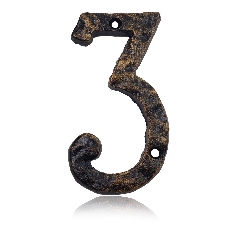 15,2 cm Hausnummern aus massivem Gusseisen Antik-Messing-Finish Number 6 einzigartiges Hammer-Aussehen mit individueller unregelm/ä/ßiger Handarbeit