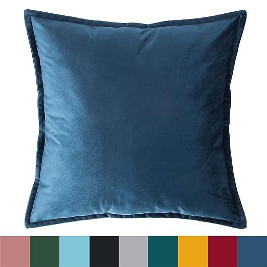 Bedsure Fundas de Cojín Decorativas Azul Marino Terciopelo ...