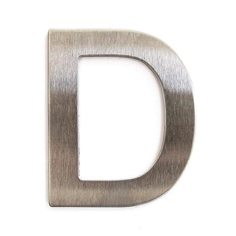 Letra de acero inoxidable adhesiva, altura 7,5 cm, número de casa, número de puerta de diseño D