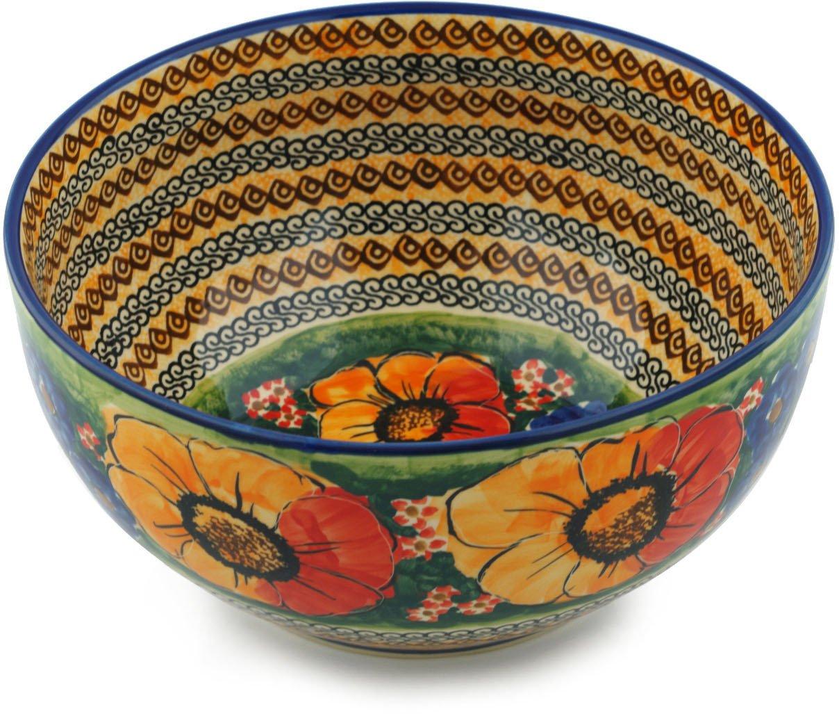 Polish Pottery Bowl 9-inch (Bright Beauty)