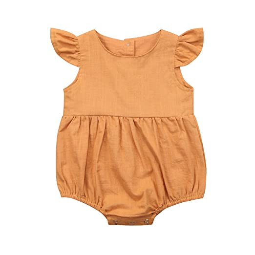 6607039f22f Honganda Cute Summer Baby Girl Flutter Sleeve Romper Bodysuit Jumpsuit  Bubble Playsuit (Yellow