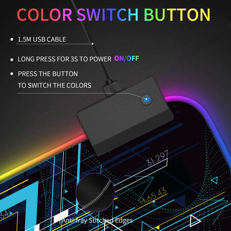 Lavable Mouse Pad para Videojuegos PC y Laptop Base de Goma Antideslizante 800 * 300 * 4 mm Gamers Ordenador Owoda Alfombrilla de Rat/ón RGB Extra Grande -Geometr/ía