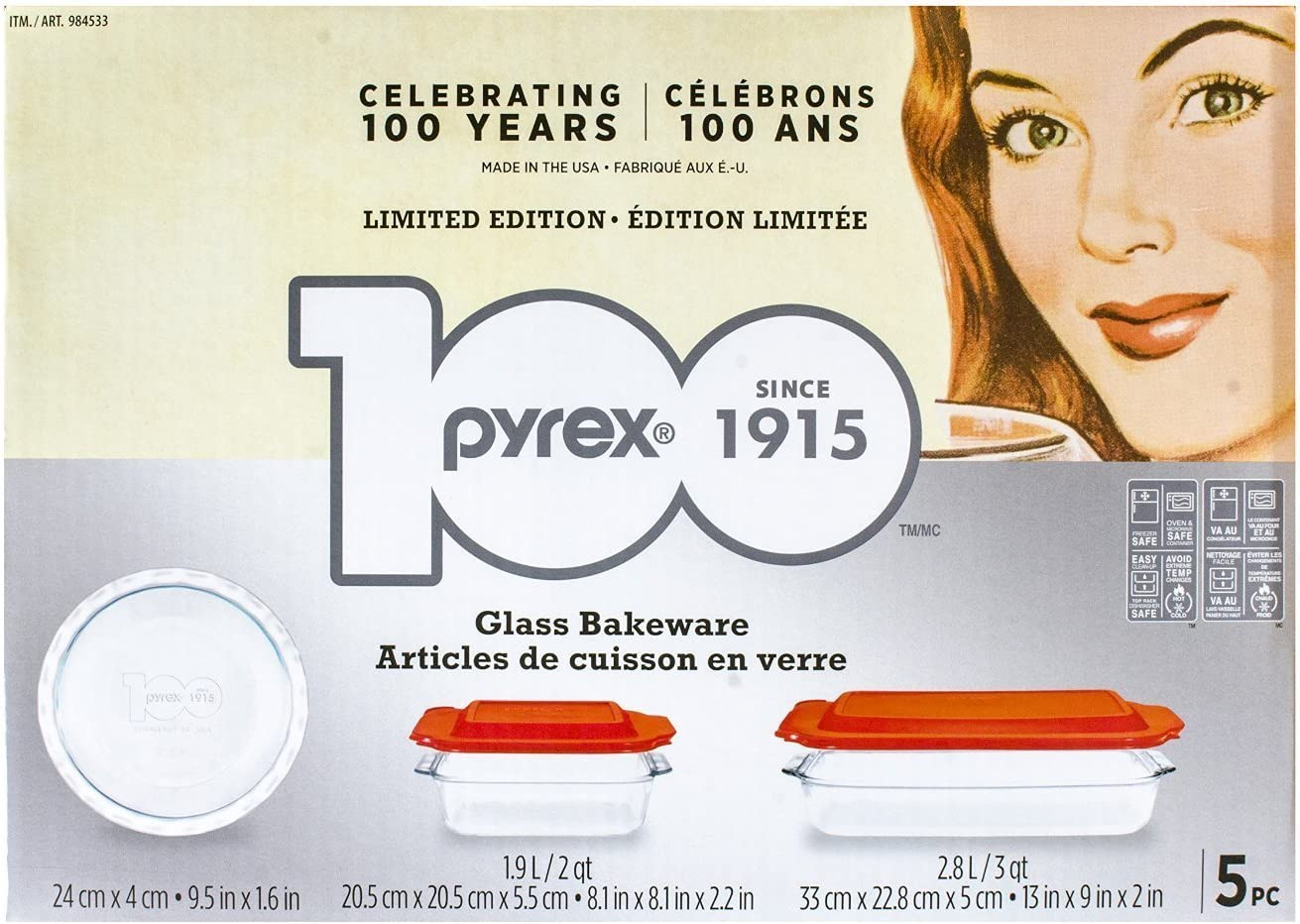 Amazon Com Pyrex 5 Piece 100 Years Glass Bakeware Set Limited Edition Kitchen Dining
