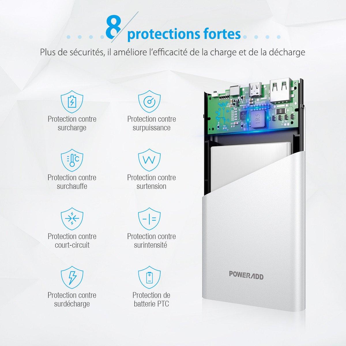 Poweradd Vergo I Batterie Externe 10000mAh, 2 Port Sorties et 2 Port Entrées(Entrée & sortie de Type-C ) avec Ecran LED pour iPhone, iPad, Android Smartphones, Samsung Galaxy et D\'autres Appareils -Argent